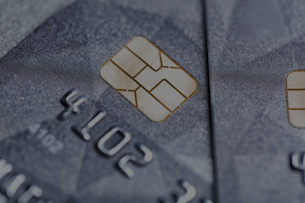 Credit cards up close.