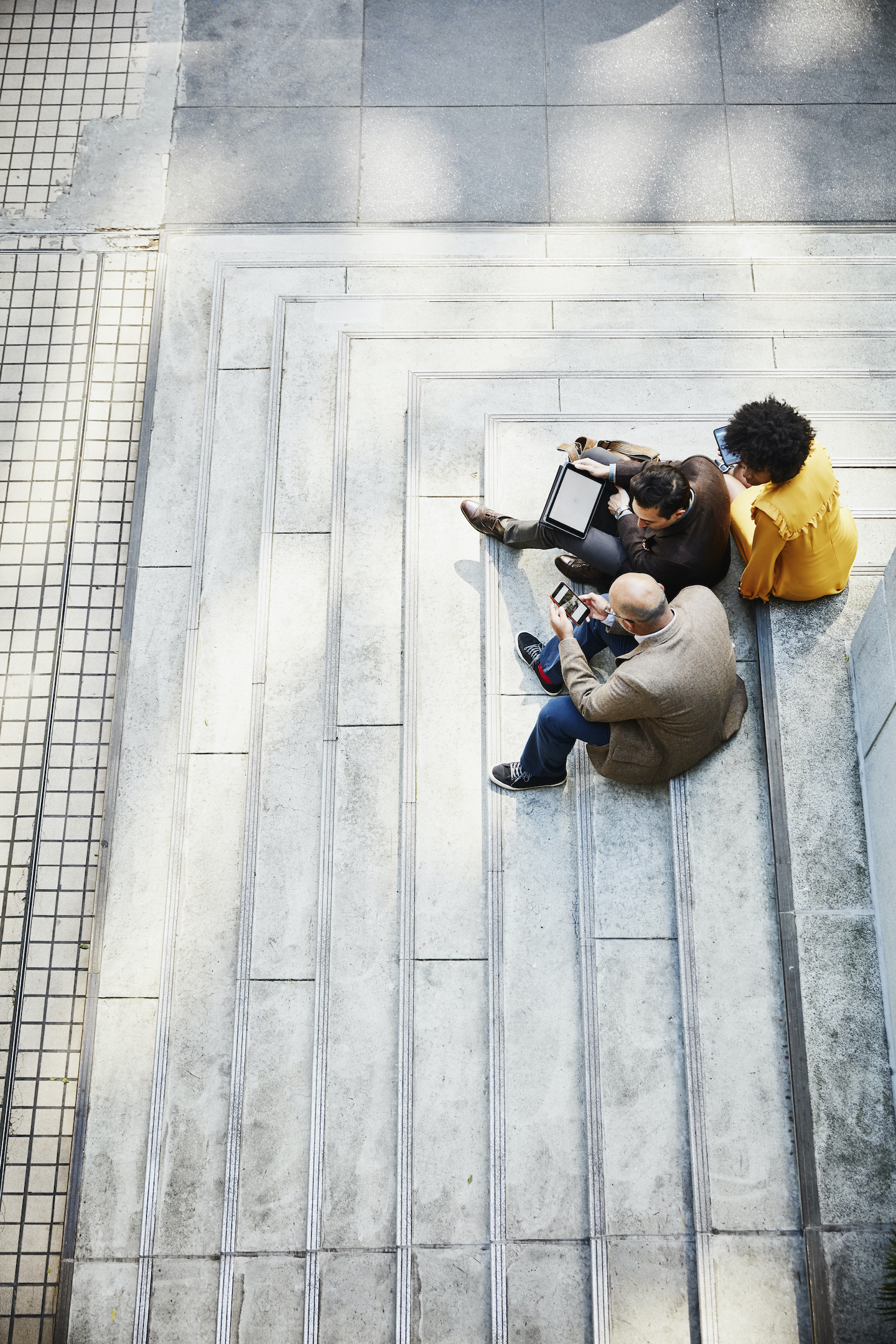 Group sitting on steps