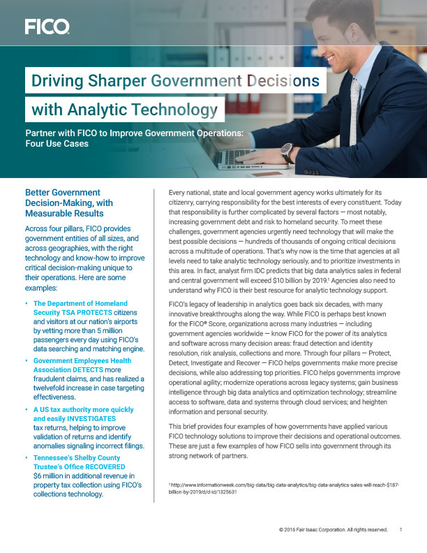 Driving Sharper Government Decisions with Analytic Technology | FICO®