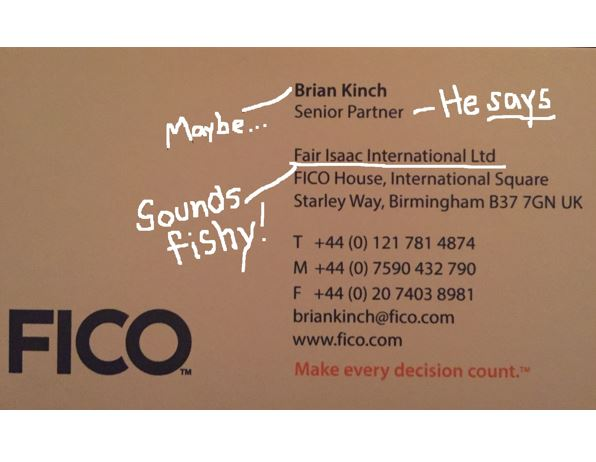 Business card with writing