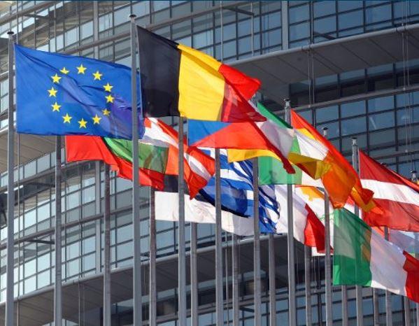 European flags in Strasbourg