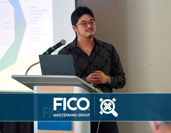 Yu-kai Chou, is a gamification expert who spoke about gamification in Auto to attendees at the FICO Automastermind event