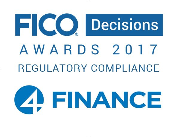 4finance and FICO Decisions Awards logos
