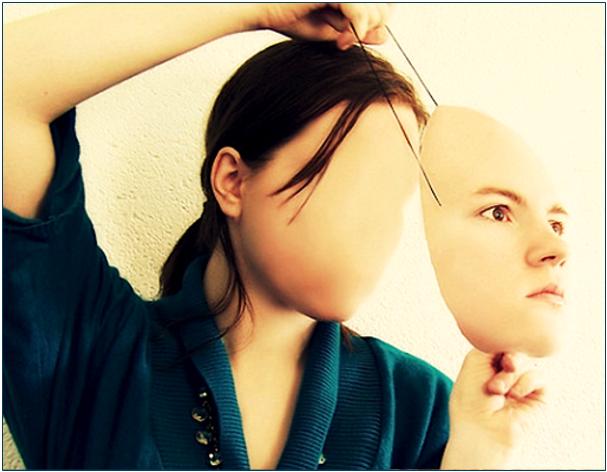 Woman with false face