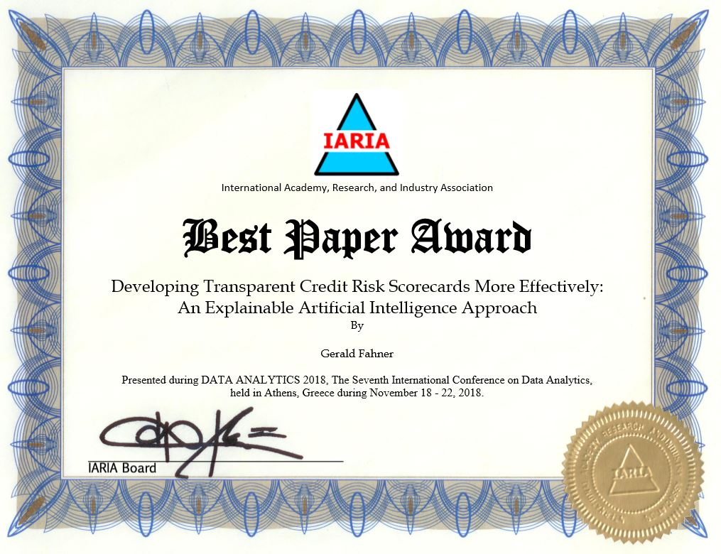 Best Paper Award FICO Score Research: Explainable AI for Credit Scoring
