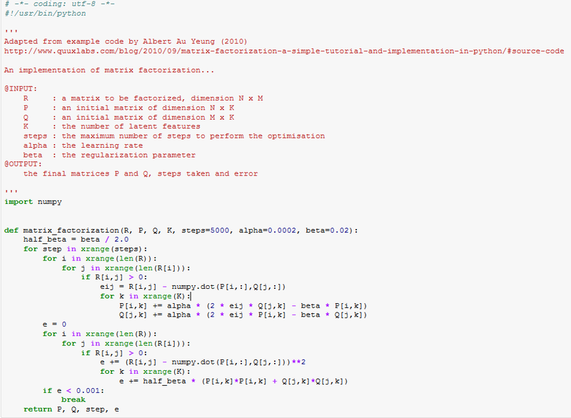 An example to dive in to: matrix factorization and recommendation