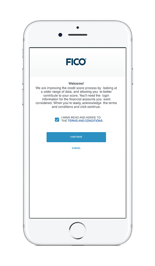 FICO App welcome screen